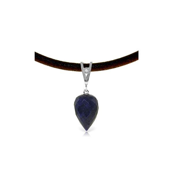 Genuine 13.01 ctw Sapphire & Diamond Necklace 14KT White Gold - REF-42Y4F