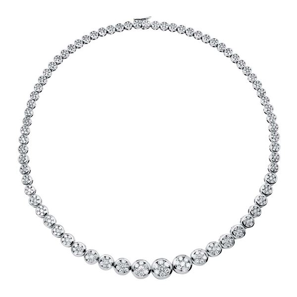 Natural 13 CTW Diamond Necklace 18K White Gold - REF-1517W4H