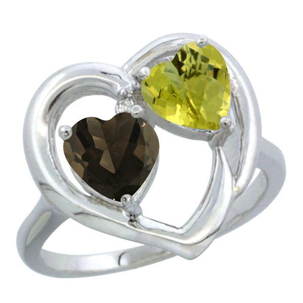 2.61 CTW Diamond, Quartz & Lemon Quartz Ring 14K White Gold - REF-33W5F