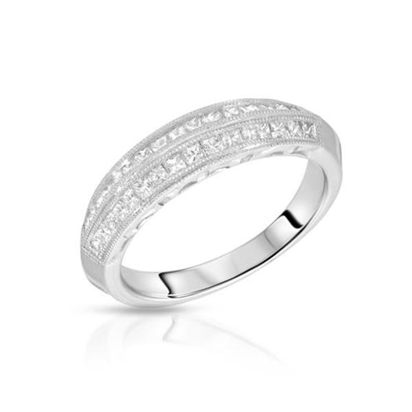 Natural 0.53 CTW Princess Diamond Band Ring W=5MM Platinum - REF-134K3R