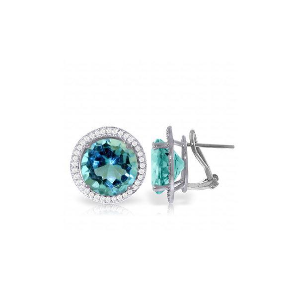 Genuine 16 ctw Blue Topaz & Diamond Earrings 14KT White Gold - REF-123W4Y