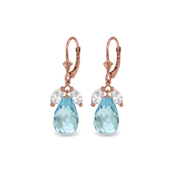 Genuine 14.4 ctw White Topaz & Blue Topaz Earrings 14KT Rose Gold - REF-46V7W
