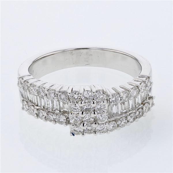 Natural 1.15 CTW Diamond & Baguette Ring 18K White Gold - REF-155F7M