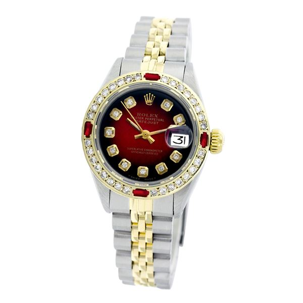 Rolex Pre-owned 26mm Womens Custom Red Vignette Two Tone