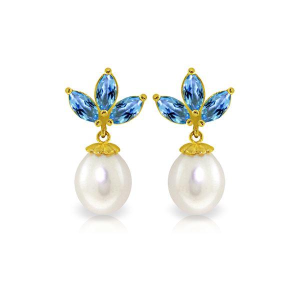 Genuine 9.5 ctw Blue Topaz & Pearl Earrings 14KT Yellow Gold - REF-31T2A