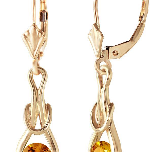 Genuine 1.30 ctw Citrine Earrings 14KT Yellow Gold - REF-49V3W