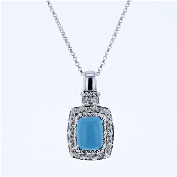 Natural 2.22 CTW Turquoise & Diamond Necklace 14K White Gold - REF-43K2R
