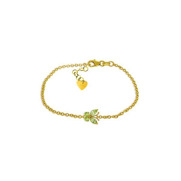 Genuine 0.60 ctw Peridot Bracelet 14KT Yellow Gold - REF-41P6H