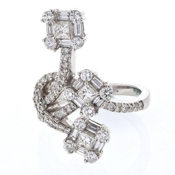 Natural 1.92 CTW Diamond & Baguette Ring 18K White Gold - REF-363F6M