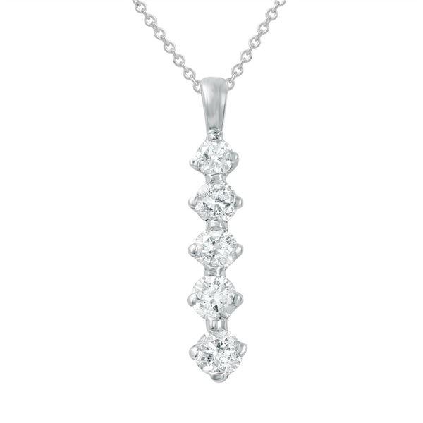 Natural 1 CTW Diamond Necklace 14K White Gold - REF-125K3R