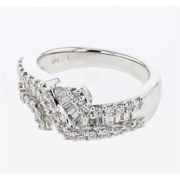 Natural 1.10 CTW Diamond & Baguette Ring 18K White Gold - REF-175N5Y