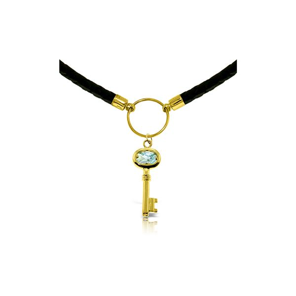 Genuine 0.50 ctw Aquamarine Necklace 14KT Yellow Gold - REF-66K6V