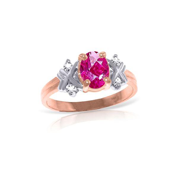 Genuine 0.97 ctw Pink Topaz & Diamond Ring 14KT Rose Gold - REF-59A5K