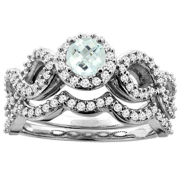 0.92 CTW Aquamarine & Diamond Ring 14K White Gold - REF-94K3W