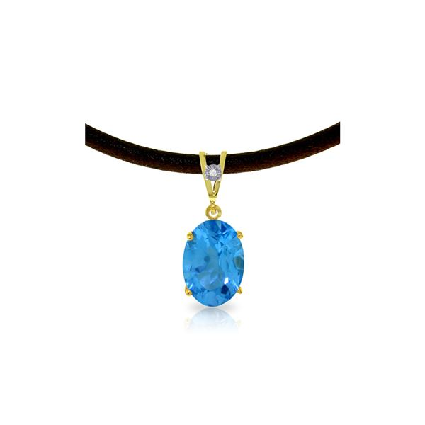 Genuine 7.56 ctw Blue Topaz & Diamond Necklace 14KT Yellow Gold - REF-35F5Z