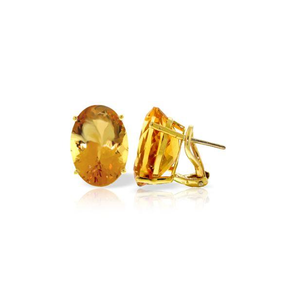 Genuine 13 ctw Citrine Earrings 14KT Yellow Gold - REF-57K3V