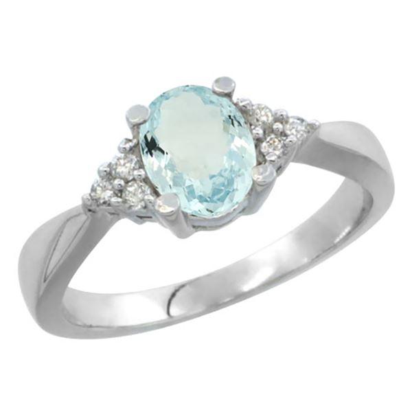 0.77 CTW Aquamarine & Diamond Ring 10K White Gold - REF-30V4R