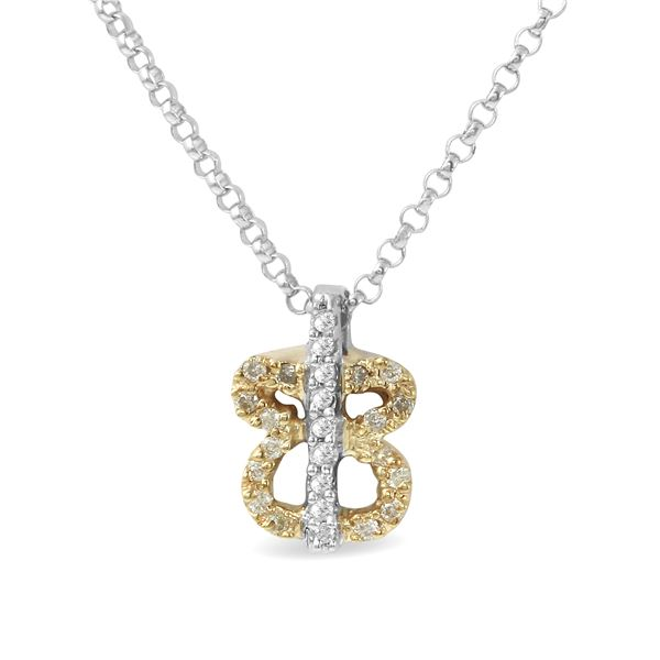 Natural 0.11 CTW Diamond Necklace 14K Two Tone Yellow Gold - REF-18W2H