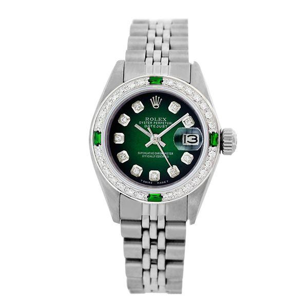 Rolex Pre-owned 26mm Womens Custom Green Vignette Stainless Steel