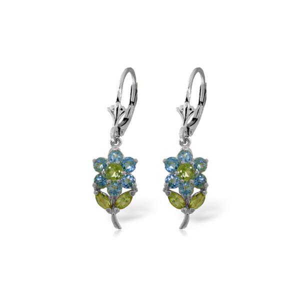Genuine 2.12 ctw Blue Topaz & Peridot Earrings 14KT White Gold - REF-42K4V