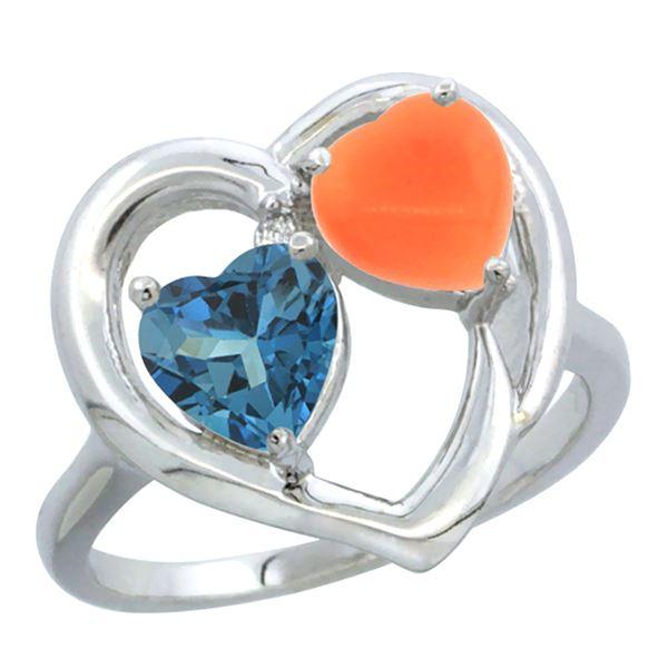1.31 CTW London Blue Topaz & Diamond Ring 10K White Gold - REF-23Y7V