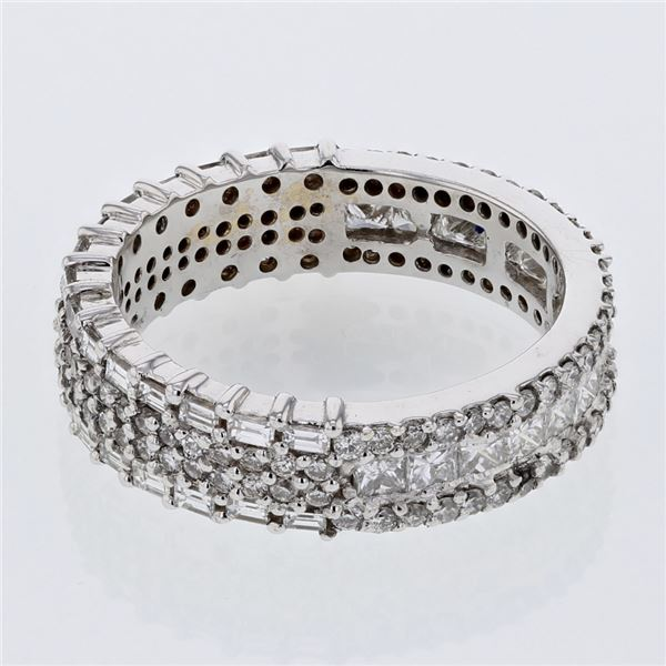 Natural 2.34 CTW Baguette & Princess Diamond Band Ring 18K White Gold - REF-285F3M