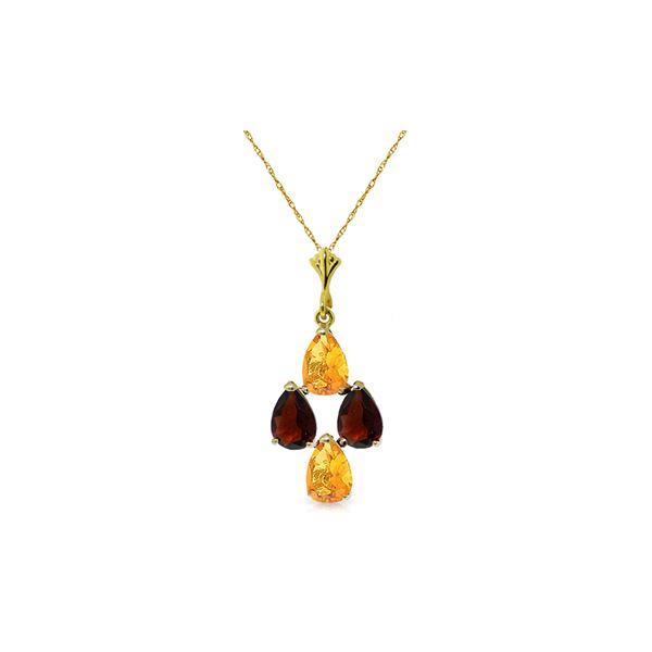Genuine 1.50 ctw Citrine & Garnet Necklace 14KT Yellow Gold - REF-20X4M