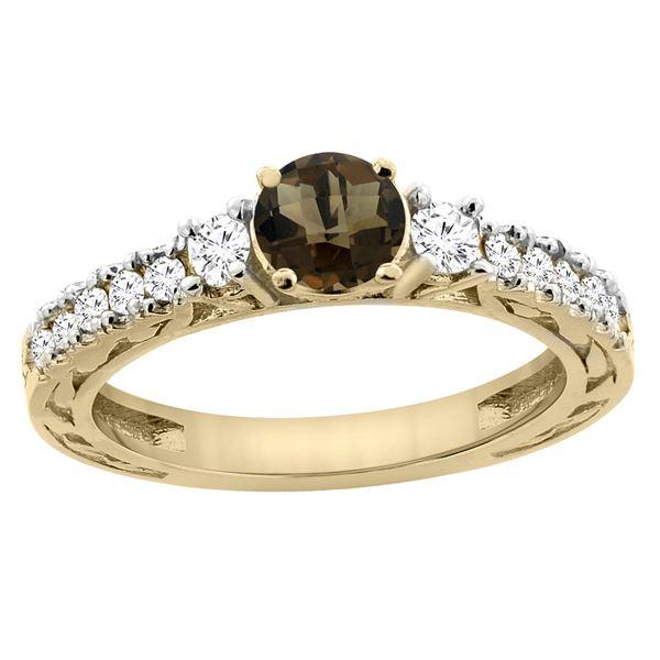 1.35 CTW Quartz & Diamond Ring 14K Yellow Gold - REF-79A5X