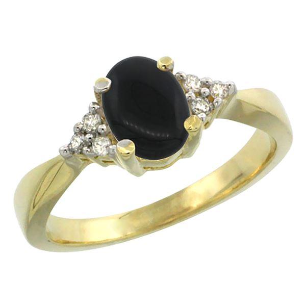 0.81 CTW Onyx & Diamond Ring 14K Yellow Gold - REF-37M4A