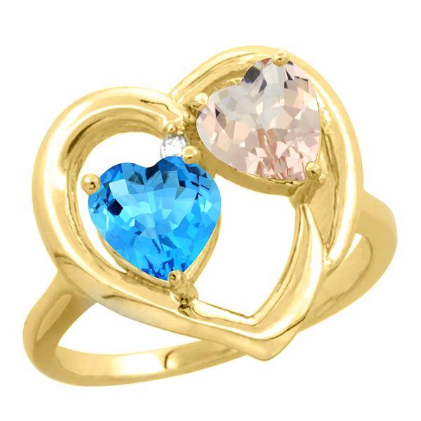 1.91 CTW Diamond, Swiss Blue Topaz & Morganite Ring 14K Yellow Gold - REF-36H6M
