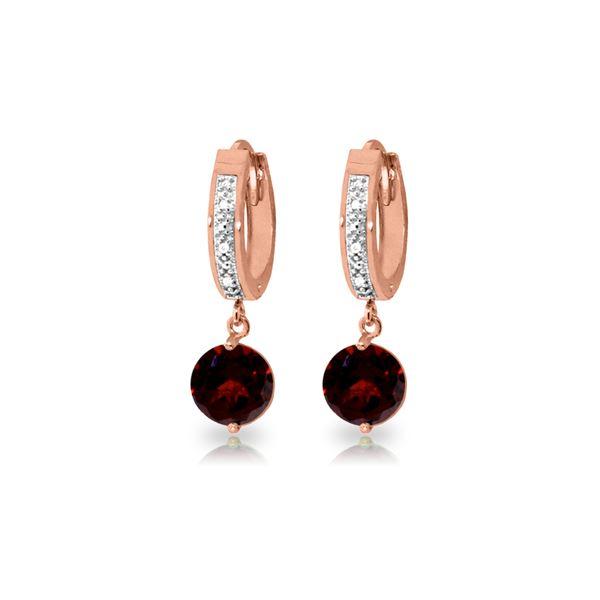 Genuine 2.53 ctw Garnet & Diamond Earrings 14KT Rose Gold - REF-54V6W