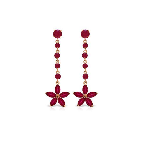 Genuine 4.8 ctw Ruby Earrings 14KT Rose Gold - REF-69A6K
