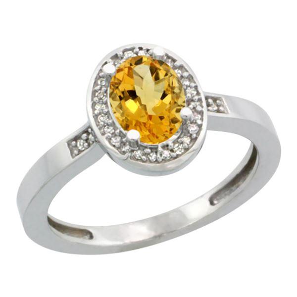 1.15 CTW Citrine & Diamond Ring 10K White Gold - REF-31V5R