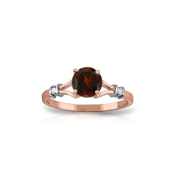 Genuine 1.07 ctw Garnet & Diamond Ring 14KT Rose Gold - REF-27H8X