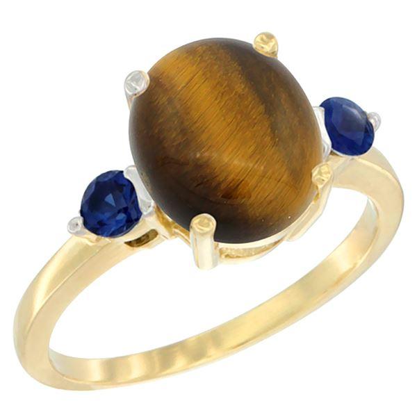 2.54 CTW Tiger Eye & Blue Sapphire Ring 14K Yellow Gold - REF-30A3X