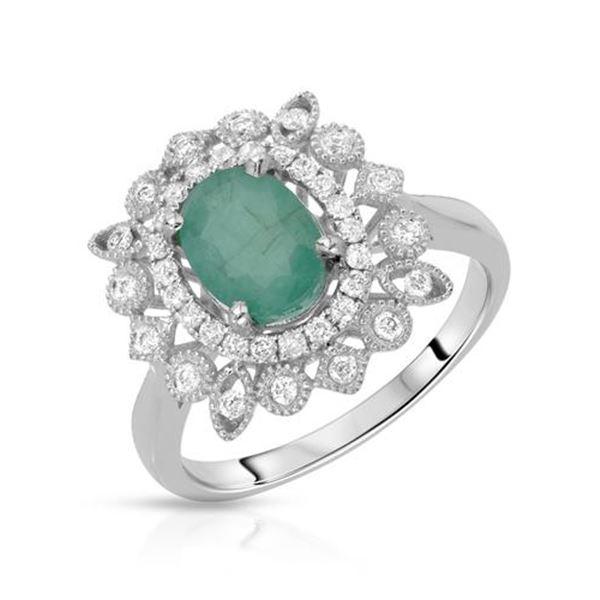 Natural 1.58 CTW Emerald & Diamond Ring W=15MM 14K Gold - REF-75N6Y