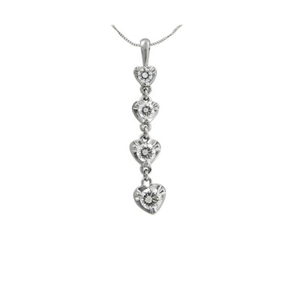 Natural 0.50 CTW Diamond Necklace 14K White Gold - REF-71N3Y