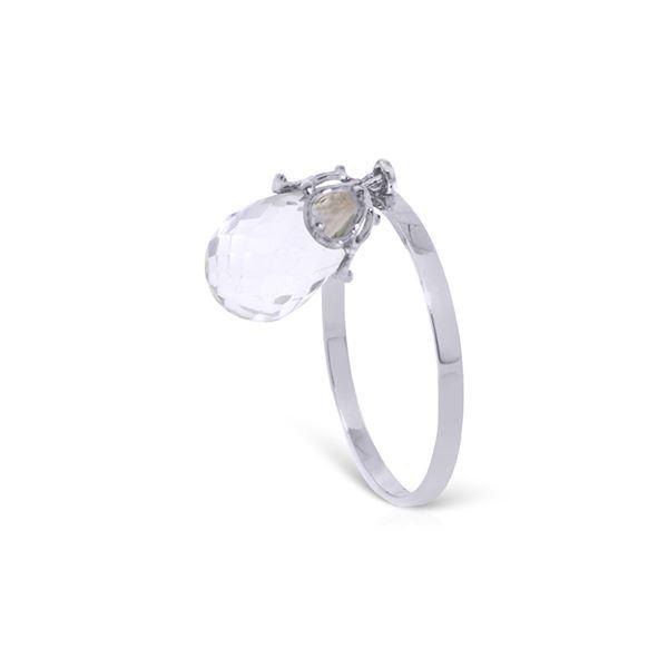 Genuine 3 ctw White Topaz Ring 14KT White Gold - REF-22M5T
