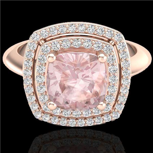 1.92 ctw Morganite & Micro VS/SI Diamond Pave Ring 14k Rose Gold - REF-51M8G