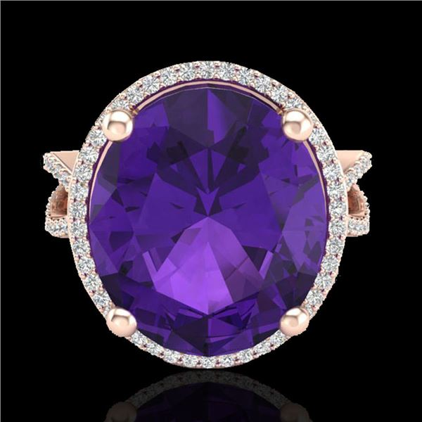 10 ctw Amethyst & Micro Pave VS/SI Diamond Ring 14k Rose Gold - REF-55H2R