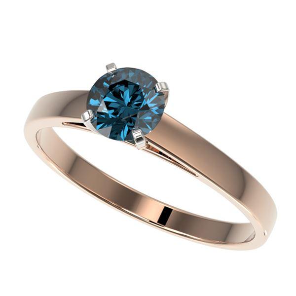 0.77 ctw Certified Intense Blue Diamond Engagment Ring 10k Rose Gold - REF-57W8H