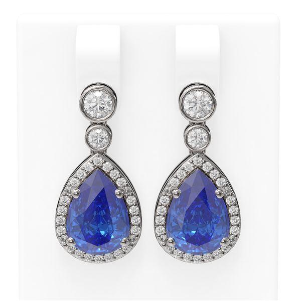 2.8 ctw Tanzanite & Diamond Earrings 18K White Gold - REF-143N6F