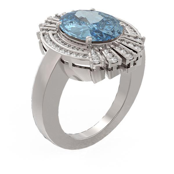 6.52 ctw Blue Topaz & Diamond Ring 18K White Gold - REF-165F6M