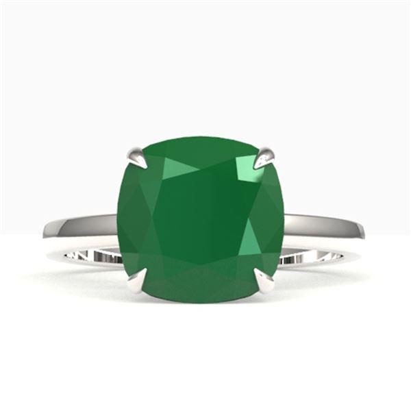 6 ctw Cushion Emerald Designer Engagment RNG 18k White Gold - REF-55N2F