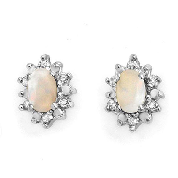 0.45 ctw Opal & Diamond Earrings 10k Yellow Gold - REF-13X3A