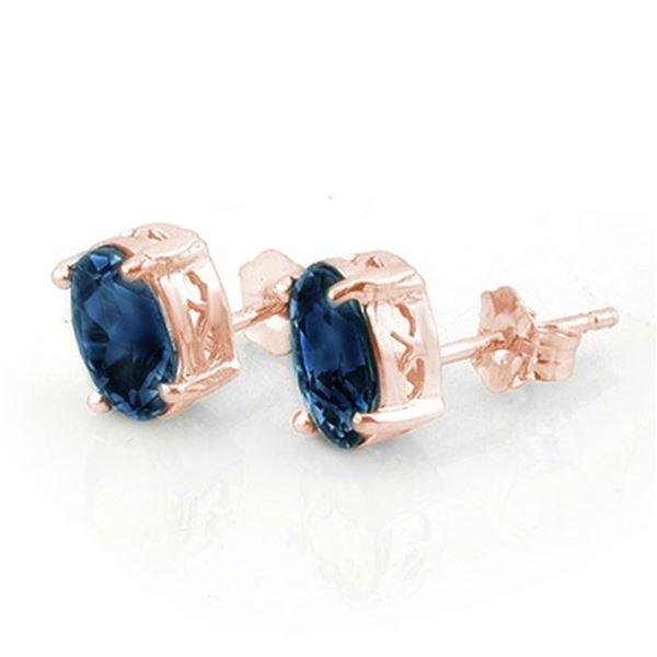 3.0 ctw Blue Sapphire Earrings 14k Rose Gold - REF-16X4A