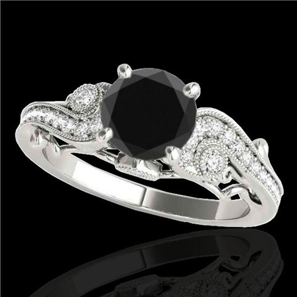 1.25 ctw Certified VS Black Diamond Solitaire Antique Ring 10k White Gold - REF-43W2H