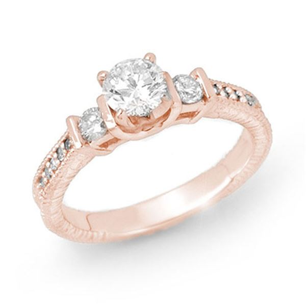 0.90 ctw Certified VS/SI Diamond Solitaire Ring 14k Rose Gold - REF-131A8N