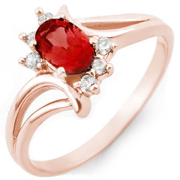0.70 ctw Pink Tourmaline & Diamond Ring 14k Rose Gold - REF-21H3R