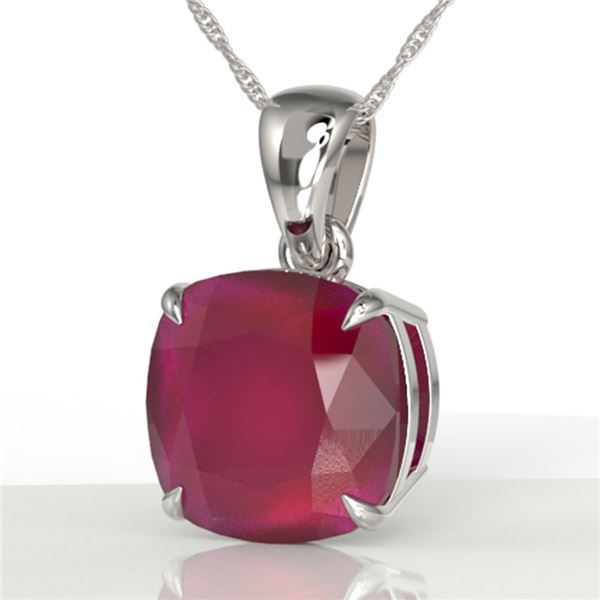 6 Cushion Cut Ruby Solitaire Necklace 18k White Gold - REF-49R3K